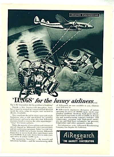 1948 AIRESEARCH AD LUNGS for AIRLINERS (Image1)