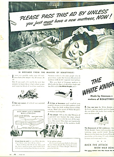 1940'S The White Knight Simmons mattress ad (Image1)