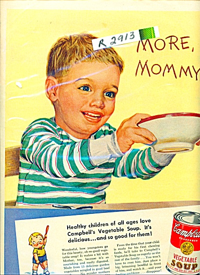 1950 Campbell's Vegetable Soup AD CUTEST BOY (Image1)