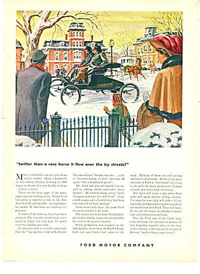1944 FORD CAR AD - VINTAGE AUTO DETROIT STREE (Image1)