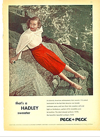 1944 PECK & PECK Sweater AD Fashion Model (Image1)