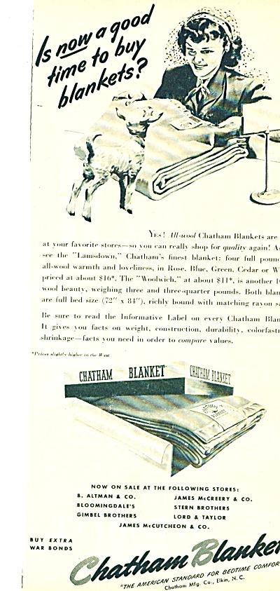 1944 Chatham Blankets AD Lady - Lamb ART (Image1)