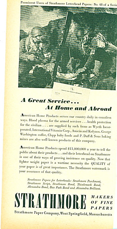 Strathmore makes of fine papers ad - 1944 (Image1)