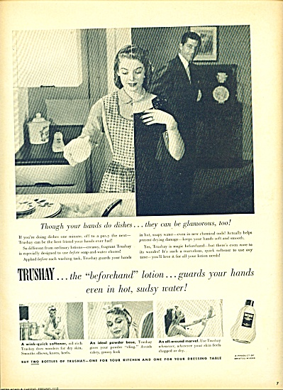 1952 Vintage TRUSHAY LOTION Beforehand AD (Image1)