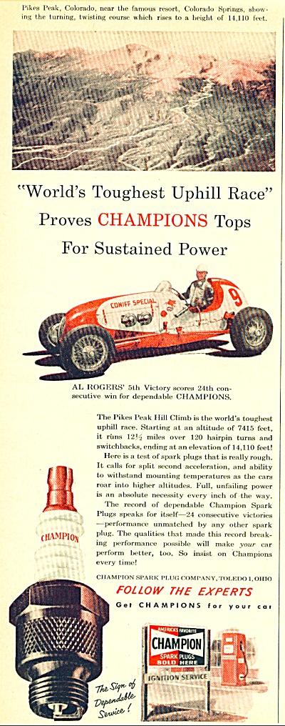 Champion spark plugs ad - 1952 AL ROGERS (Image1)