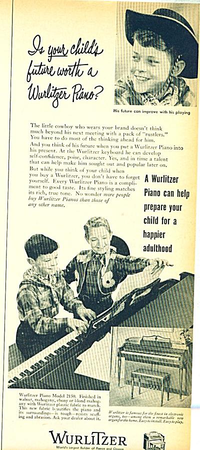 Wurlitzer company ad - 1952 (Image1)