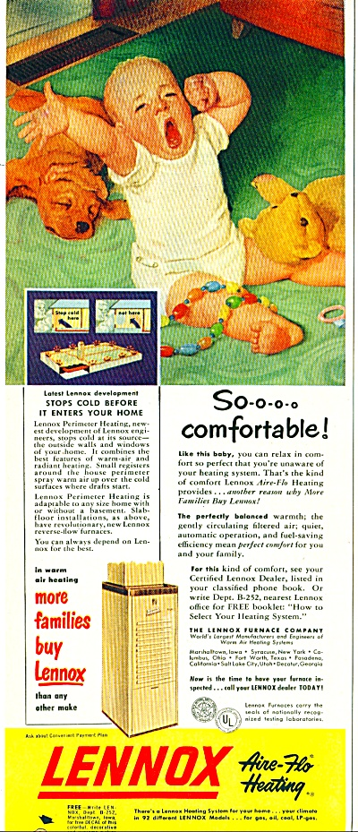 1952 Lennox heating AD Open Mouth Baby ART (Image1)