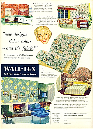 Wall-Tex fabric wall coverings ad - 1952 (Image1)