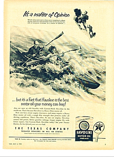 1953 Havoline Motor oil AD Canoe in the RAPID (Image1)