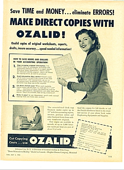 1953 Ozalid copying COPY MACHINE AD (Image1)