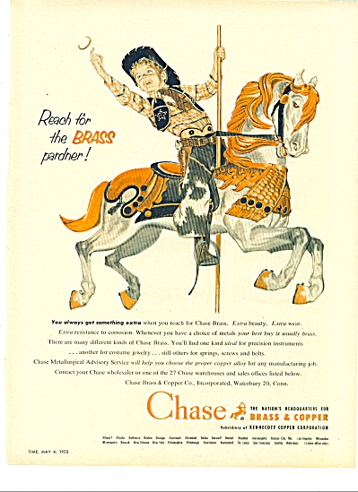 1953 CHASE Brass & Copper Boy Cowboy AD (Image1)