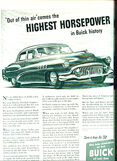 Buick automobile ad -  1952 (Image1)