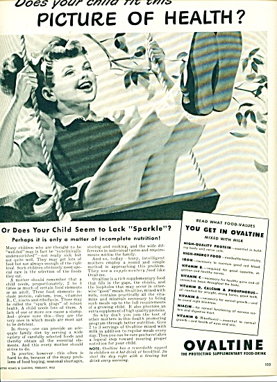 1952 Ovaltine AD Girl in Swing Artwork (Image1)