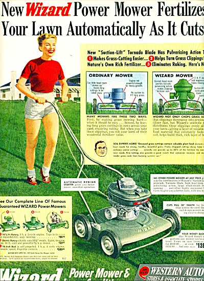 1952 Western Auto Wizard Power Lawn Mower Ad (Image1)