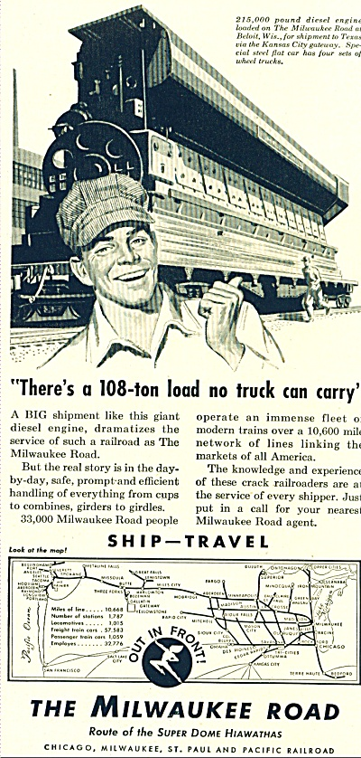 1953 The Milwaukee Road train AD Tom MINK ART (Image1)