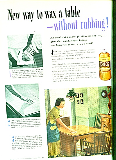 Johnson' Pride wax ad - 1952 (Image1)