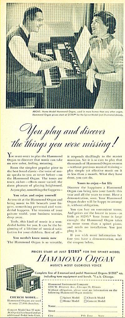 Hammond Organ ad - 1952 (Image1)