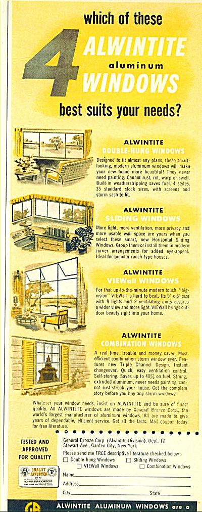 Alwintite Aluminum windows ad - 1952 (Image1)