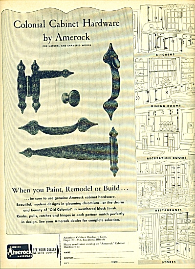 Colonial Cabibnet Hardware ad - 1952 (Image1)