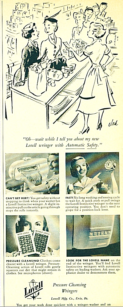 Lovell pressure cleansing wringers ad  1952 (Image1)
