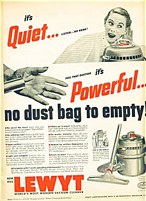 Lewyt Vacuum Cleaner Ad 1952 No Dust Bag