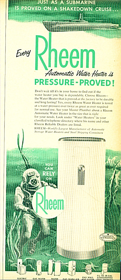 1952 Rheem DEEP SEA DIVER Submarine Heater AD #2 (Image1)
