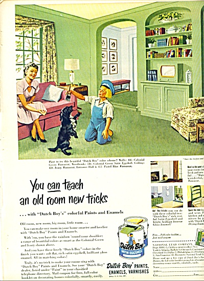 1952 DUTCH BOY PAINT AD Playing w/ DOG SCHEME (Image1)
