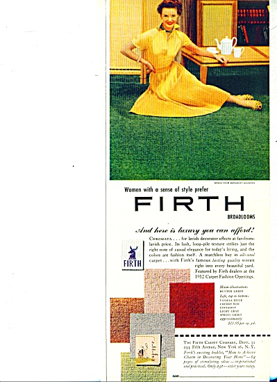 1952 Firth Broadlooms Carpet AD Elegant Woman (Image1)