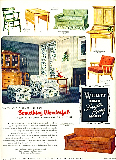 Willett solid maple ad - 1952 (Image1)