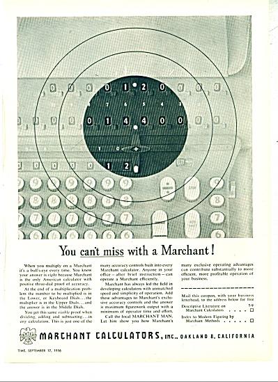 Marchant Calculators, Inc., ad - 1956 (Image1)