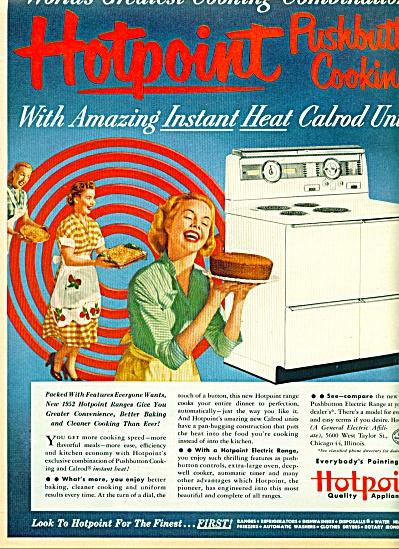 1952 Hotpoint Range / Stove AD SMILING WOMEN (Image1)