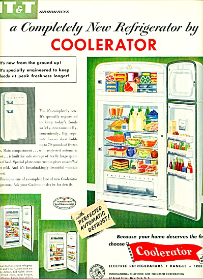 1952 COOLERATOR Refrigerator ITT AD RETRO Fri (Image1)