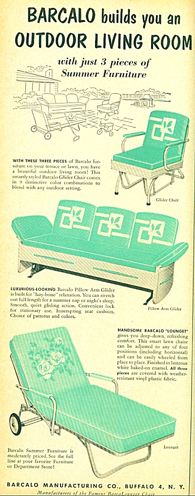 Barcalo Outdoor Living Room Ad - 1952