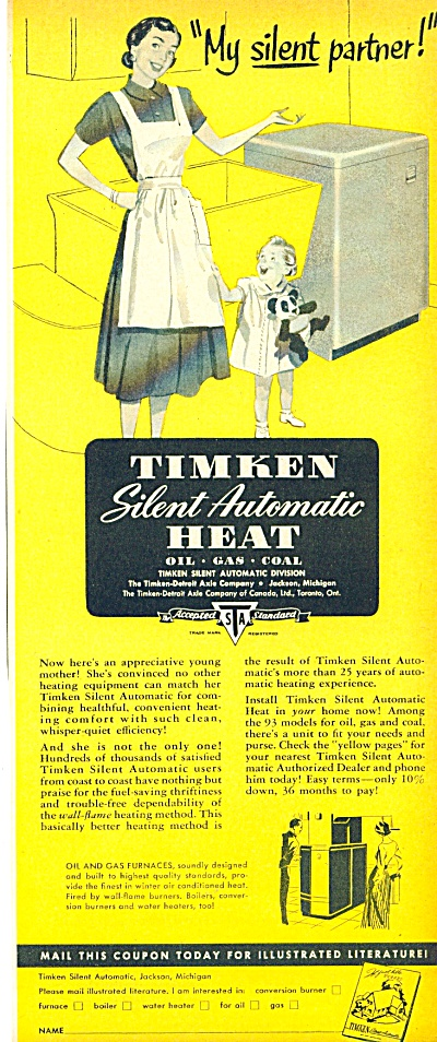 Timken silent automatic heat ad - 1952 (Image1)