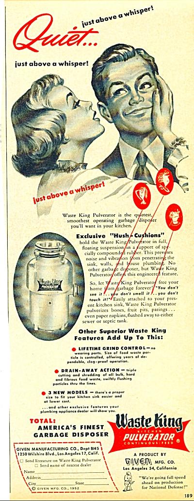Waste King Pulverator ad - 1952 (Image1)