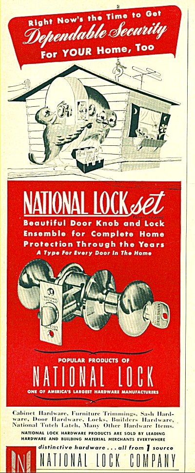 National Lock Company ad  - 1952 (Image1)