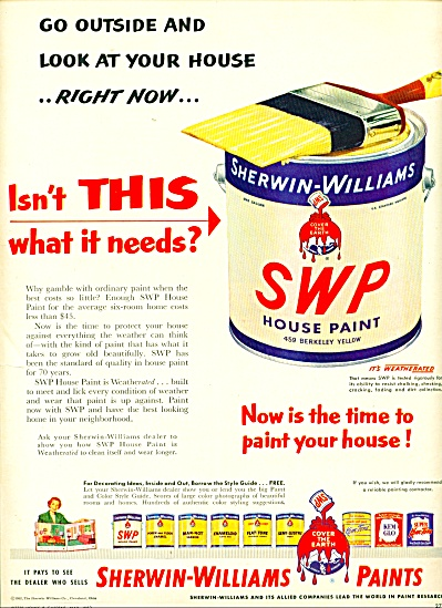 Sherwin-Williams paints ad - 1952 (Image1)