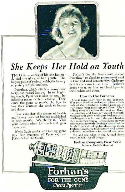 1920's Forhan's for the gums ad Pyorrhea (Image1)