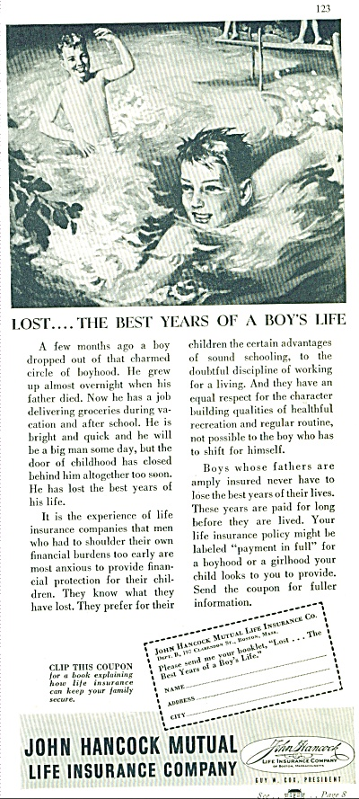 1937 John Hancock Insurance Boys In Pool Ad (Image1)
