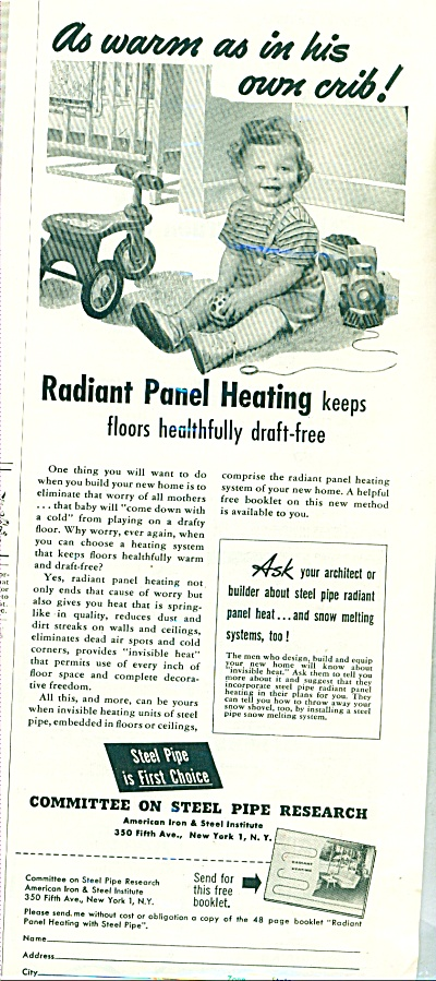 Radiant panel heating ad - 1952 (Image1)