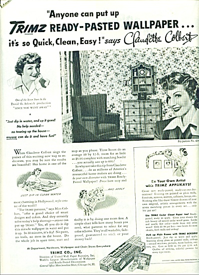1944 CLAUDETTE COLBERT TRIMZ Wallpaper AD (Image1)