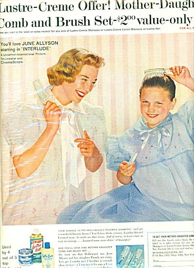 1959 JUNE ALLYSON Lustre Creme Shampoo AD (Image1)