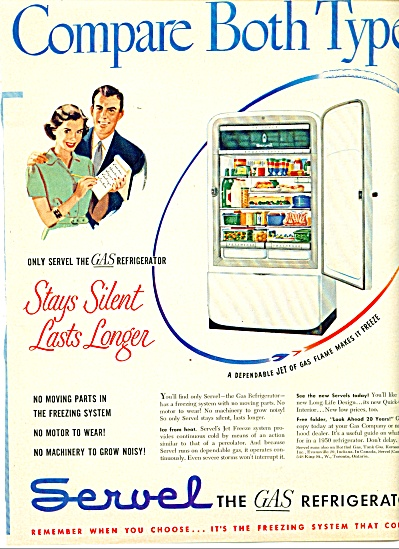 Servel the gas refrigerator ad - 1950 (Image1)