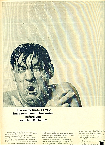 1964 MAN TAKING COLD SHOWER Oil Heat AD (Image1)