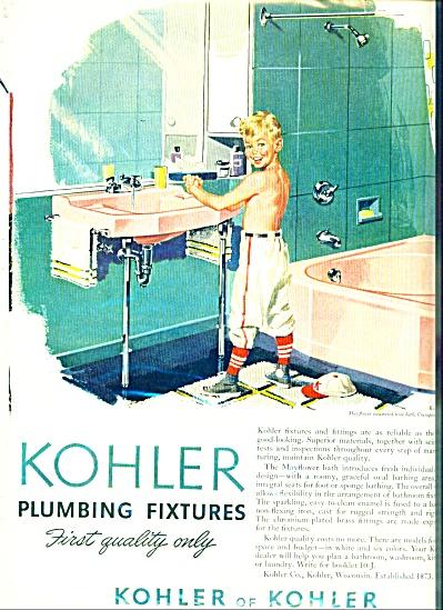 1950's KOHLER Boy in Bathroom AD Baseball (Image1)