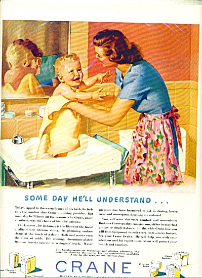 1948 Crane Plumbing Mom Almost Nude Baby Ad (Image1)