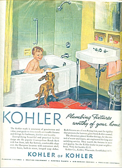 1952 Kohler Bathing Boy - Dog Bathtub Ad (Image1)