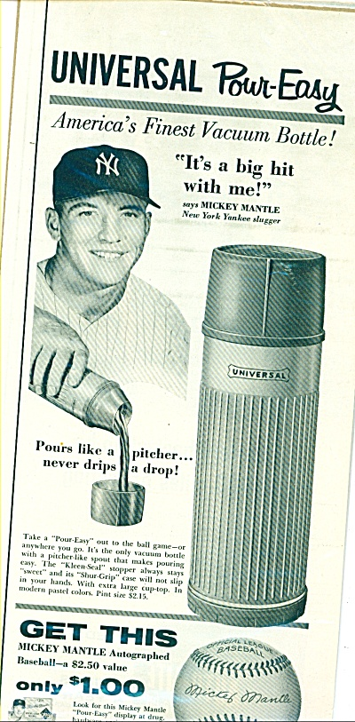 1957 Universal Vacuum Bottle Mickey Mantle Ad #2 (Image1)
