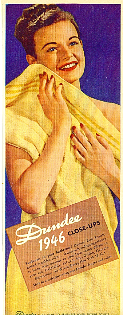 1946 DUNDEE Lady in Close Ups TOWEL AD (Image1)