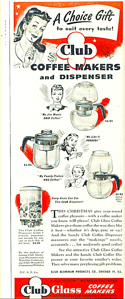 Club Glass coffee makers ad - 1946 (Image1)